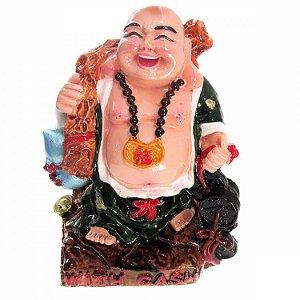 Buda da Alegria Verde em Resina (13cm)