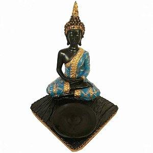 Buda Tibetano Azul 3 em 1 (Incensário, Porta Vela e Estátua)