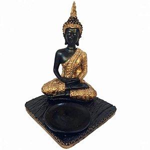 Buda Tibetano Dourado 3 em 1 (Incensário, Porta Vela e Estátua)