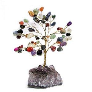 Árvore de Cristais com Base em Ametista Bruta (15cm)