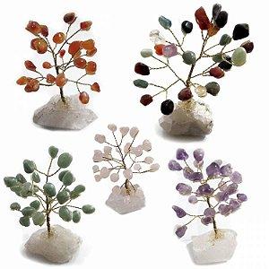 Árvore de Cristais com Base em Cristal Bruto (10cm)
