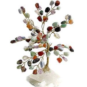 Árvore Mix de Cristais com Base em Cristal Bruto (20cm)
