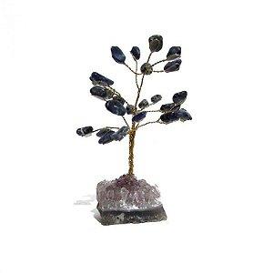 Árvore de Pedra Sodalita com Base em Ametista Bruta (10cm)