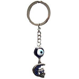 Chaveiro Olho Grego com Coruja na Lua (10cm)