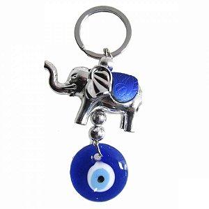 Chaveiro Elefante Prata Olho Grego 10cm