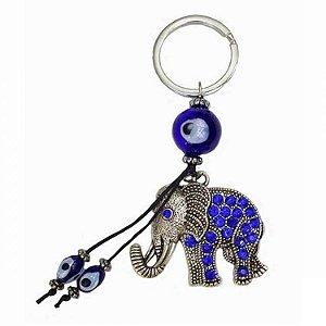 Chaveiro Elefante Com Cristais Olho Grego 14cm