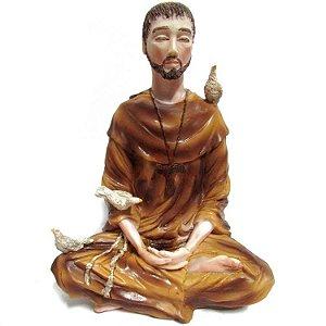 São Francisco Meditando em Resina (18cm)