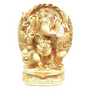Ganesha com Arco e Pedestal Grande (24cm)