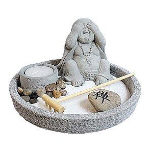 Jardim Zen com Buda e Porta Velas