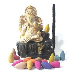 Incensário Cascata de Fumaça Ganesha + 50 Incensos Backflow
