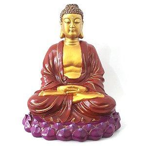Buda Meditando na Flor de Lótus Grande (25cm)