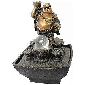 Fonte de Água Buda com Pote de Ouro na Mão (23cm)