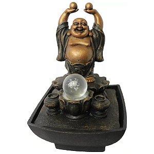 Fonte de Água Buda da Prosperidade com Luz LED e Esfera