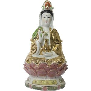 Kuan Yin Deusa da Misericórdia em Porcelana (25cm)