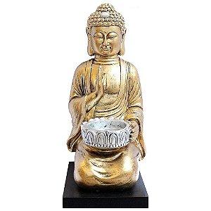 Porta Velas Buddha Dourado com Base em Madeira