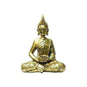 Estátua Buddha Tibetano Meditando em Resina