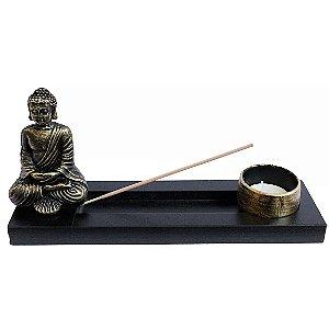 Porta Incenso Buddha em Resina com Suporte em Madeira