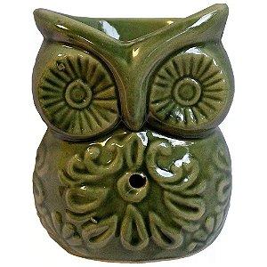 Difusor Aromático Rechaud Coruja Verde em Cerâmica