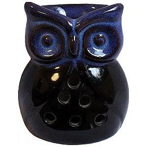 Difusor Aromático Rechaud Coruja Azul em Cerâmica