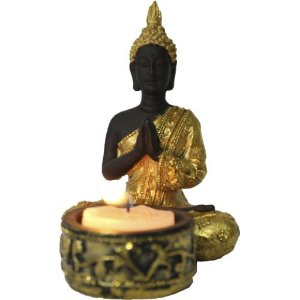Porta Vela Buddha Oração em Resina (11cm)