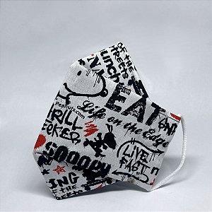 Máscara 3D Infantil de Snoopy Skatista - Tripla Camada