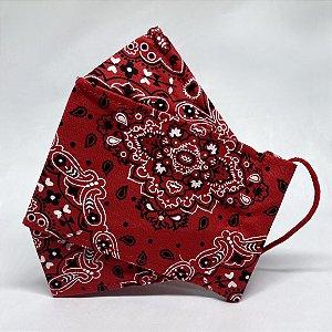 Máscara 3D de Bandana Vermelha Tradicional - Tripla Camada