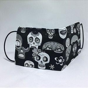 Máscara de Tecido Dupla Face Caveira Mexicana
