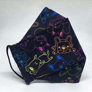 Máscara 3D Neon Dogs - Tripla Camada