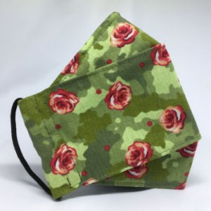 Máscara 3d Camuflada com Rosas - Tripla Camada