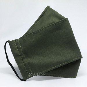 Kit 3 Máscaras 3D Verde Musgo - TRIPLA Camada