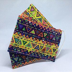 Máscara 3D Triângulo Étnico - Tripla Camada
