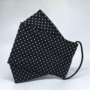 Máscara 3D Preta de Mini Estrelas - Tripla Camada