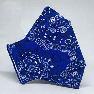Máscara 3D Bandana Azul Royal - Tripla Camada