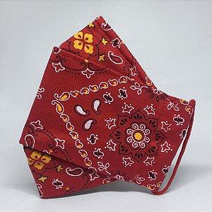 Máscara 3D Bandana Vermelha- Tripla Camada