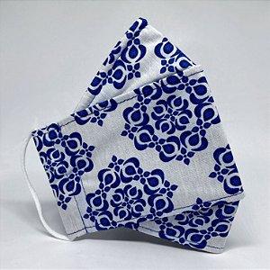 Máscara 3D Azulejo Branco e Azul- Tripla Camada