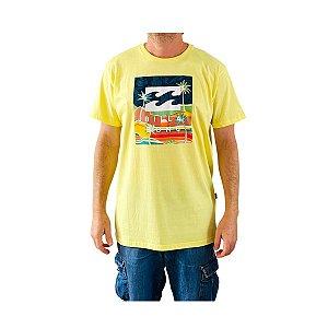 Camiseta Billabong United Stacked II Amarelo Claro