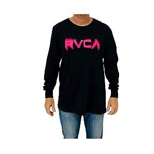 Camiseta RVCA Manga Longa Blurs Preto
