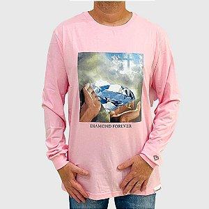 Camiseta Diamond Manga Longa Forever Rosa