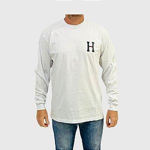 Camiseta Huf Manga Longa Monogram Classic H Branco