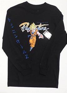 Camisa Manga Longa Primitive Dragon Ball  Z Goku Saiyan P Black