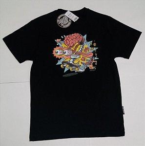 Camiseta Santa Cruz Juvenil Skate Brain Preto Tam 12