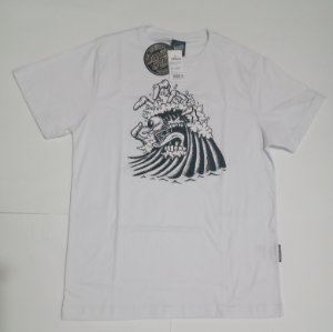 Camiseta Santa Cruz Juvenil Bone Wave Branco Tam 14