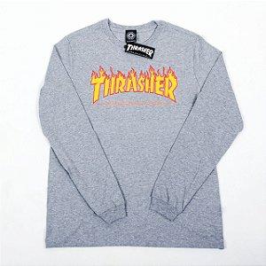 Camisa Thrasher Manga Longa Flame Cinza Original