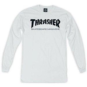 Camisa Thrasher Manga Longa Skate Magazine White Original