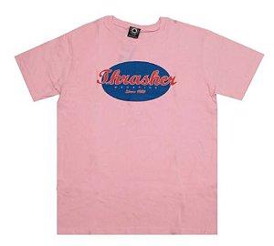 Camiseta Thrasher Oval Script rosa