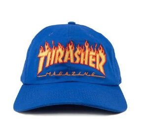 Boné Thrasher Magazine Dad Hat Flame Azul