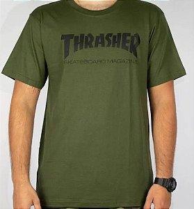 Camiseta Thrasher Magazine Verde Logo Preta