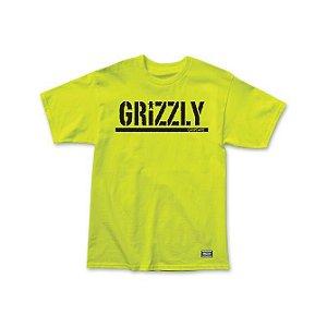 Camiseta Grizzly Stamp Verde Fluorecente
