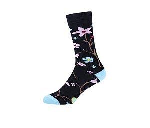 Meia Floral Vibes Preta Altai