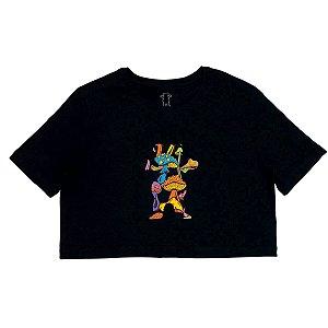 Camiseta Grizzly Fungi Og Bear Cropped Preto Feminina